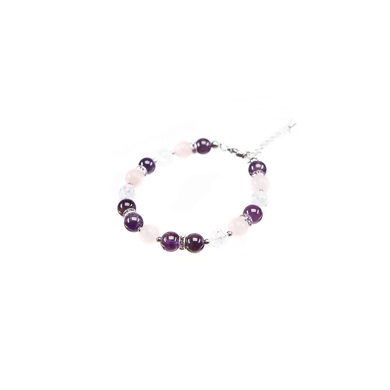 Bracelet amethyst, rose quartz and crystal ice