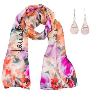 CADOU: Sal matase Laura Biagiotti roses corai si cercei argint crin cuart roz