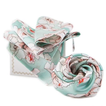 GIFT: Silk scarf and hair rose Blue Serenity