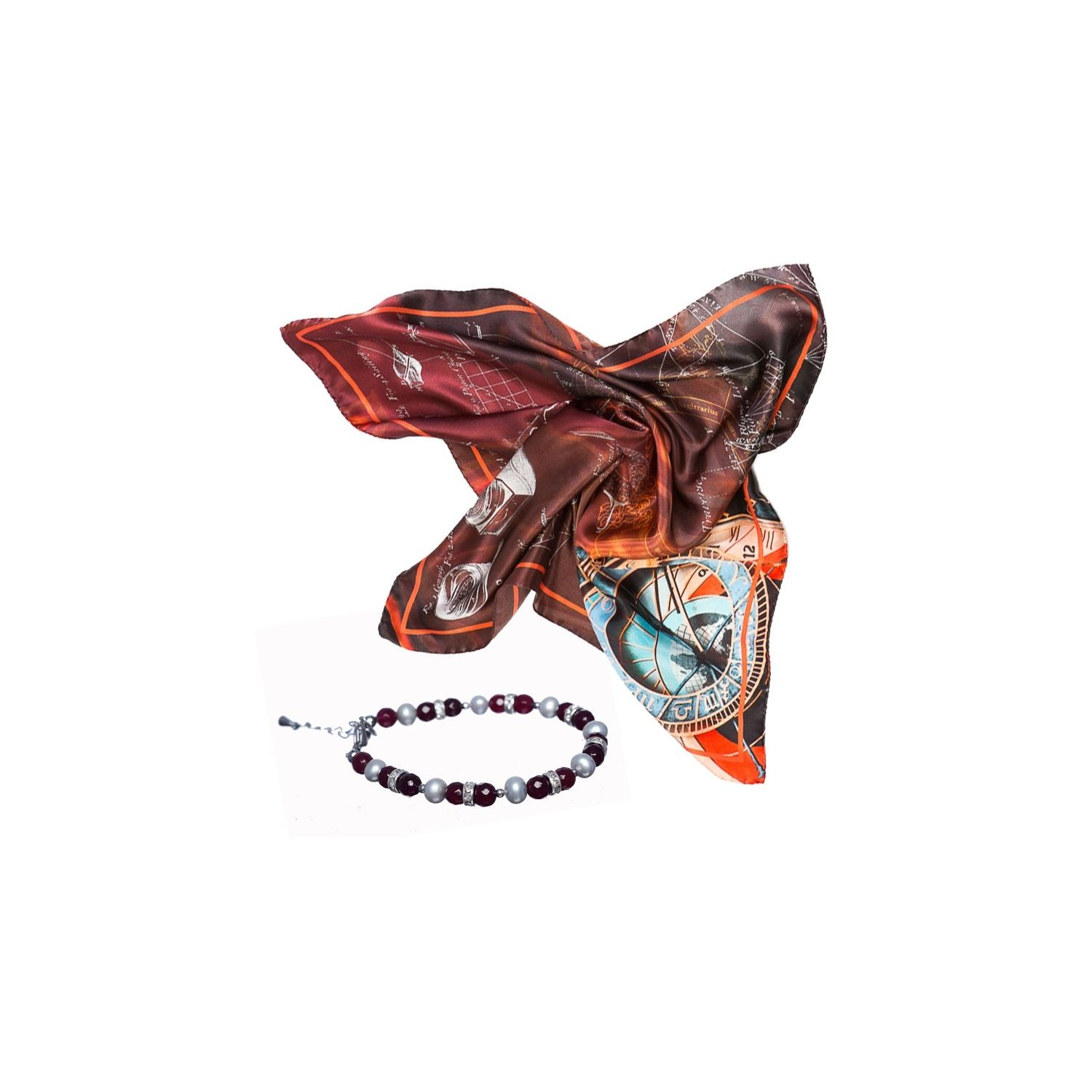 GIFT: Mila Schon explore scarf chocolate and cognac agate and pearls bracelet