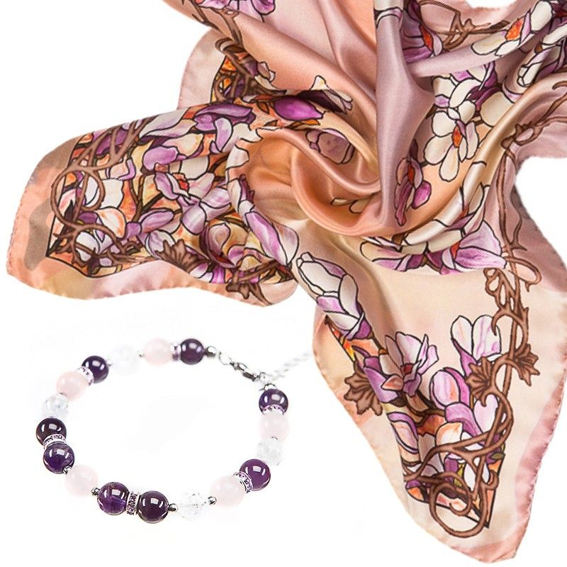 GIFT: Laura Biagiotti purple flowers scarf and bracelet amethyst, rose quartz, crystal ice