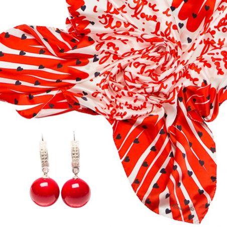 CADOU:Esarfa Marina D`Este I love you red si cercei argint coral rosu