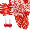 CADOU:EsarfaMarina D`Este I love you red si cercei argint coral rosu