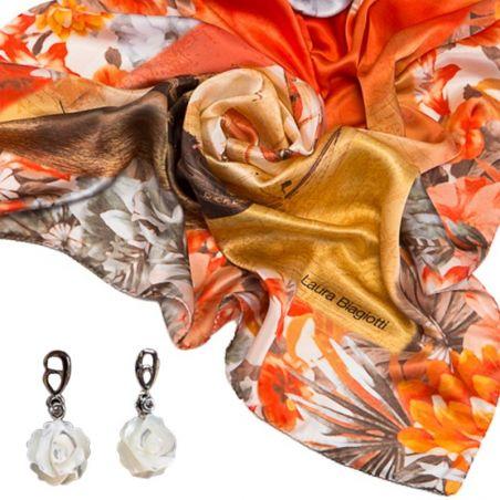 CADOU:Esarfa Laura Biagiotti corabii corai si cercei argint floare sidef