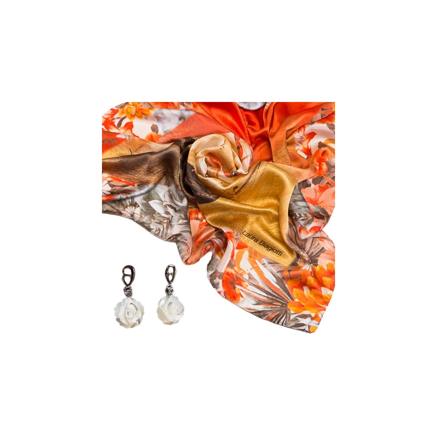 GIFT: Laura Biagiotti scarf ships coral and mother of pearl flower earrings silver