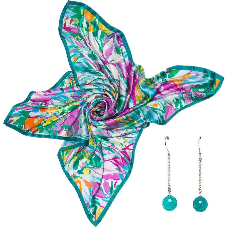 GIFT: Mila Schon irises turquoise scarf with pink and turquoise agate silver earrings