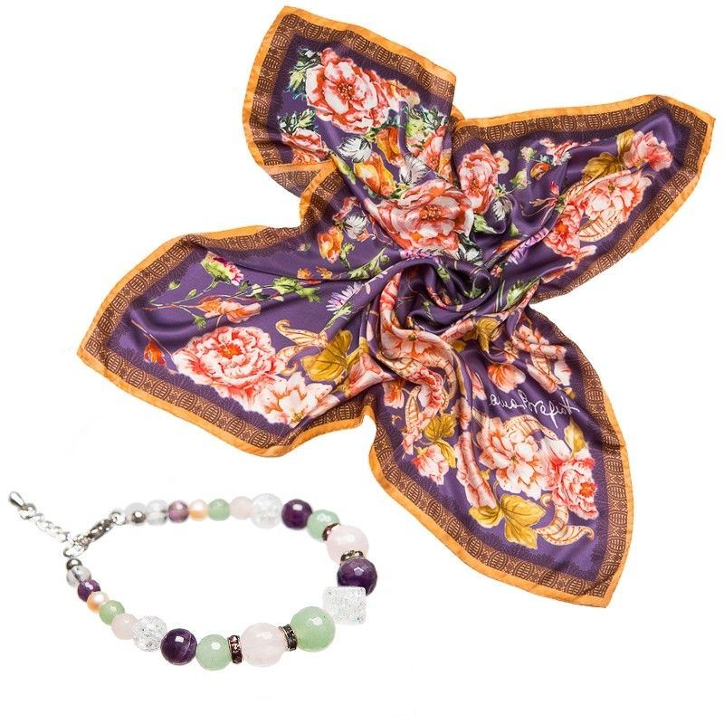 GIFT: Laura Biagiotti scarf delicate purple flowers and rose quartz bracelet, aventurine, crystal ice