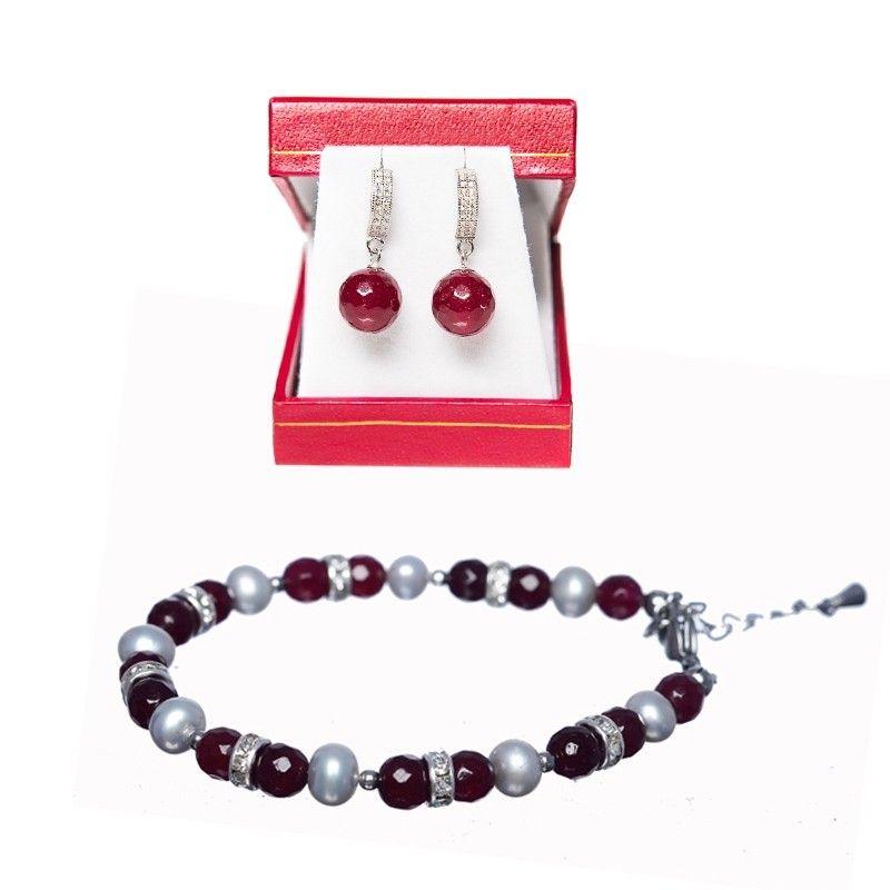 CADOU: Bratara agat coniac-grena si perle si cercei argint agat coniac