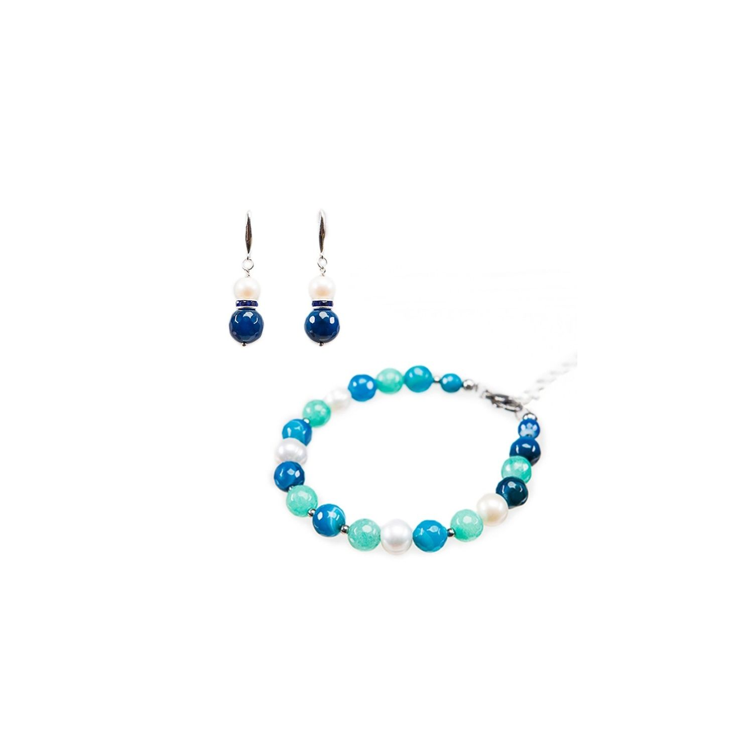 GIFT: Bracelet and earrings silver blue agate, turquoise and pearls