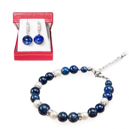 GIFT: lapis lazuli and pearl bracelet and silver earrings lapis