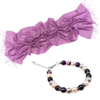 GIFT: Mila Schon wool scarf lilac and purple lace agate and pearls bracelet