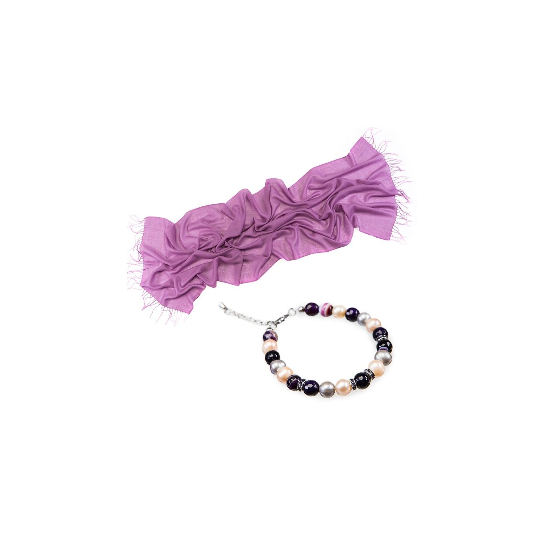CADOU: Esarfa lana Mila Schon liliac si bratara agate dantela mov si perle