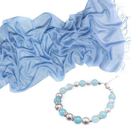 CADOU: Esarfa lana si casmir M. Schon pale blue si bratara angelit si perle de cultura gri