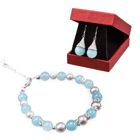 GIFT: silver earrings and bracelet angel lily angel gray pearls