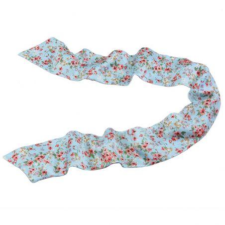 Eşarfă mătase naturală turcoise cu flori cires