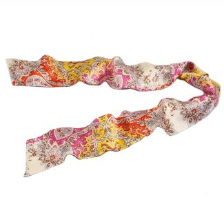 Paisley yellow  orange Silk Scarf