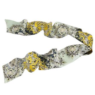 Paisley grey yellow Silk Scarf