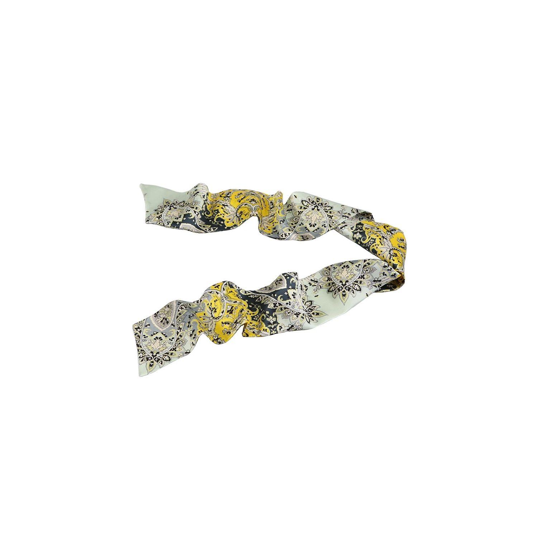 Eşarfă mătase naturală paisley gri galben