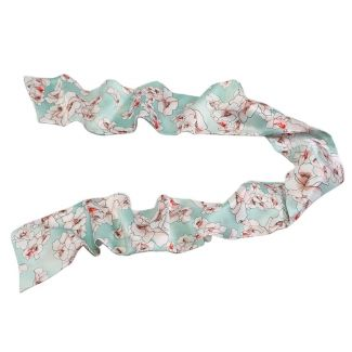 Flowers cuart on turcoise Silk Scarf