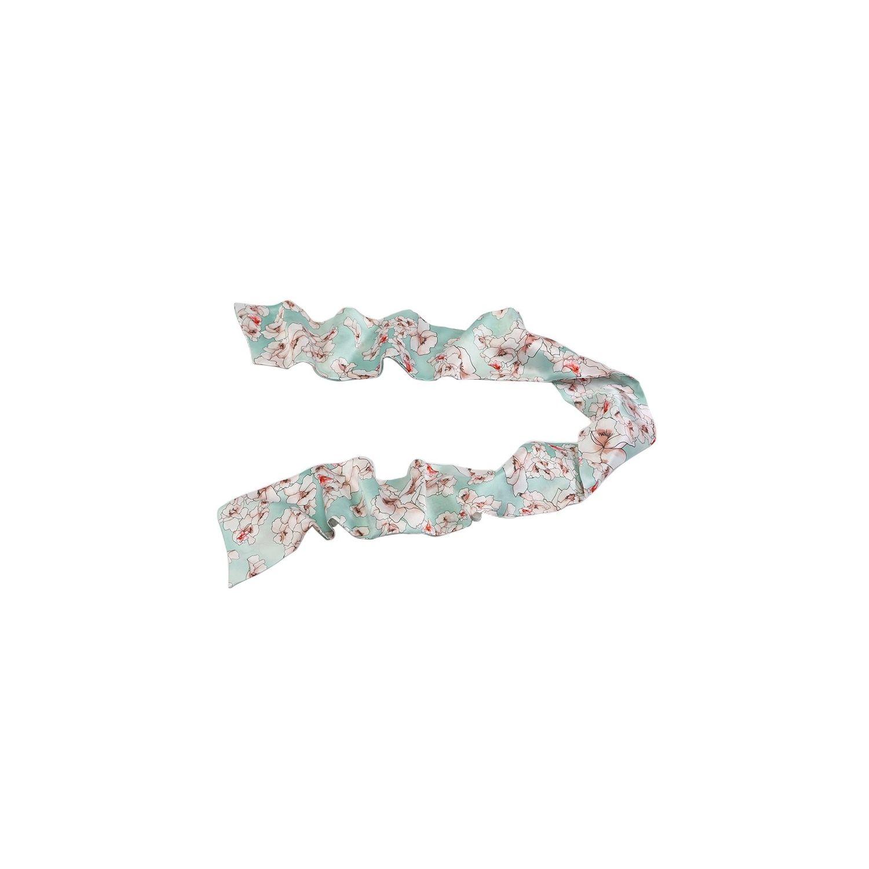 Eşarfă mătase naturală flori cuart pe turcoaz deschis