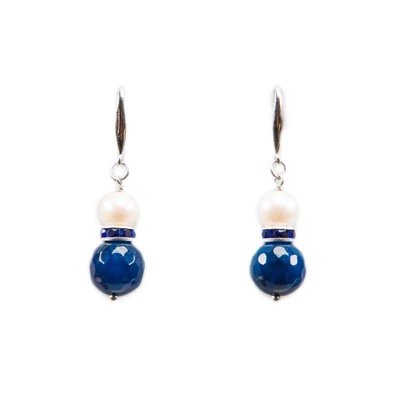 Cercei argint cu agat albastru si perla alba