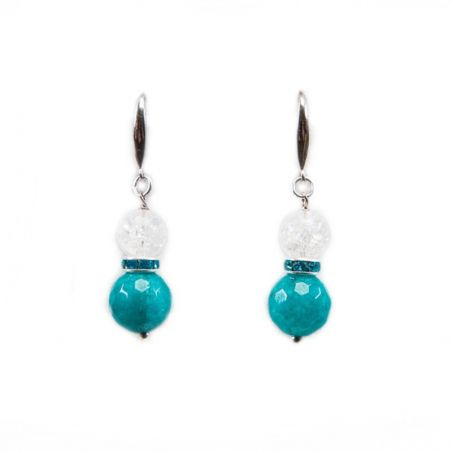 Agate silver earrings with turquoise and crystal ice