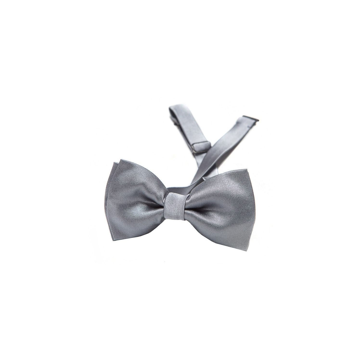 Grey silk bow tie