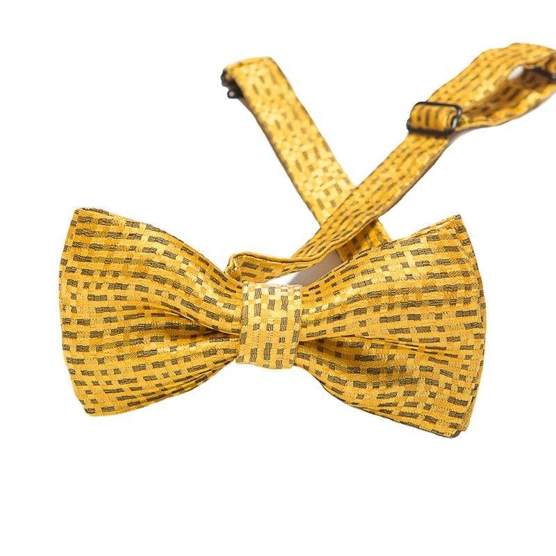 Mustard silk bow tie black squares