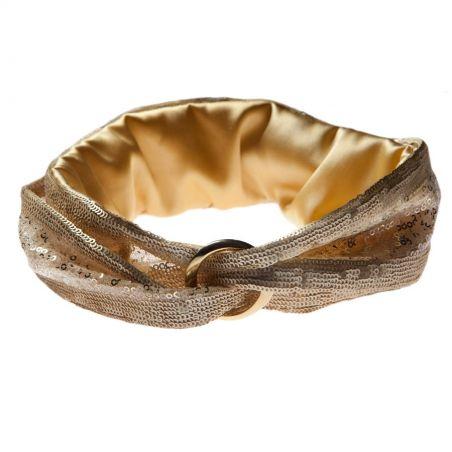 Turban metalic auriu