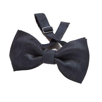 Navy paisley silk bow tie