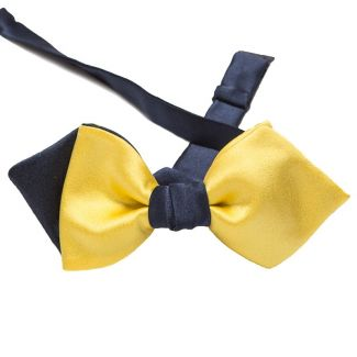 Asymmetrical Bow Tie Silk yellow and navy