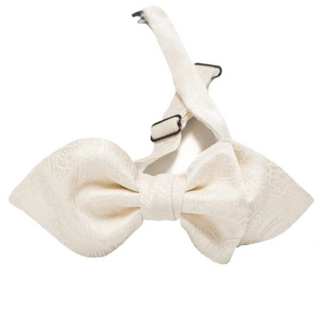Asymmetrical silk bow tie paisley white