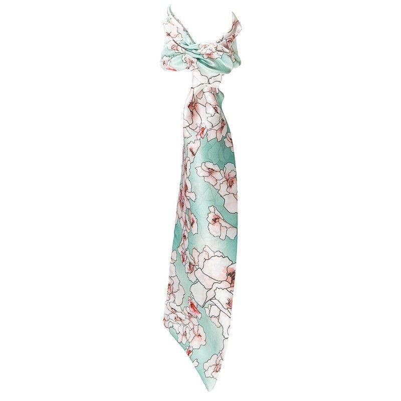 Eşarfă cu volan flori cuart pe turcoaz deschis