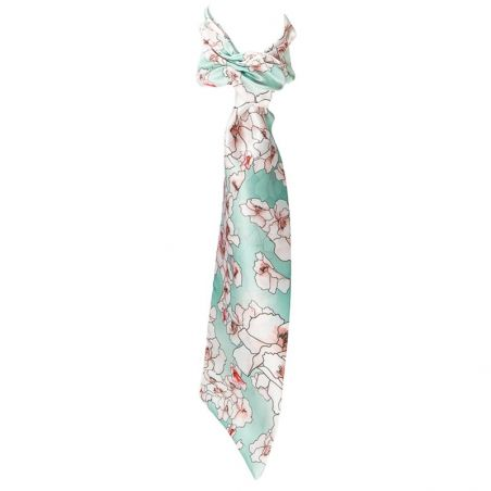 Scarf drive on flowers quartz turquoise