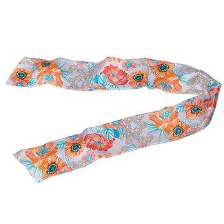 Eşarfă mătase naturală maci corai