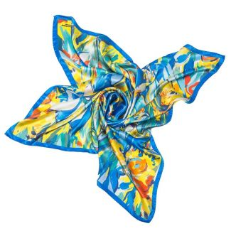 Silk Scarf  Mila Schon irises yellow with blu