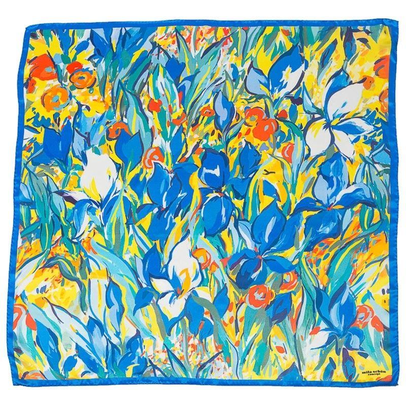 Silk Scarf  Mila Schon irises yellow with blu