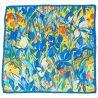 Esarfa matase naturala Mila Schon irisi galbeni cu albastru