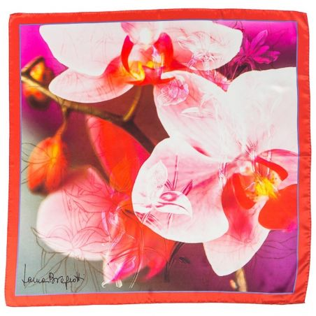 Silk Scarf Laura Biagiotti pink orchids