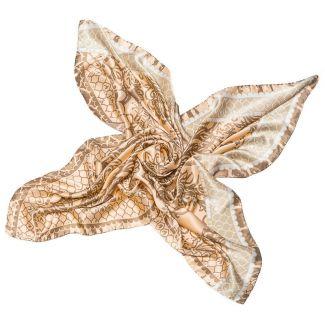 Silk Scarf Marina D'Este arabesc beige and somonise