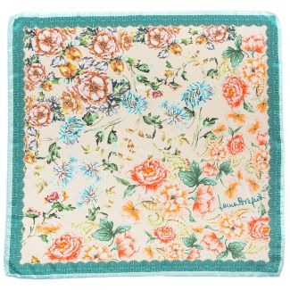 Silk Scarf Laura Biagiotti delicate flowers turcoise