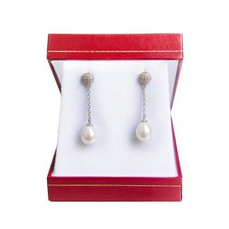 Silver earrings white cultured pearls My Way