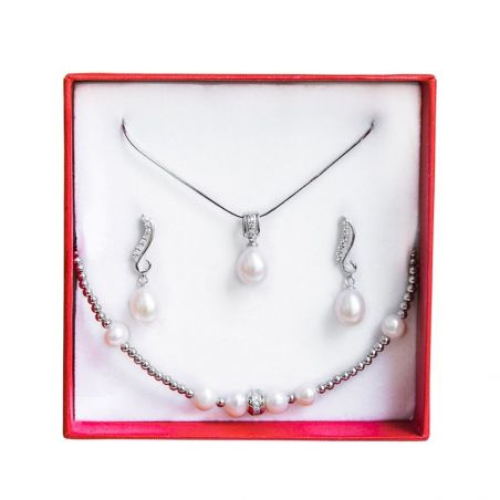 Pearls Wedding Jewelry Set Silver