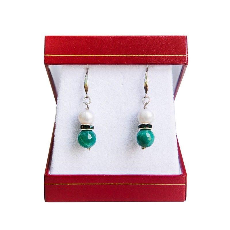 Cercei argint perla alb si agat verde