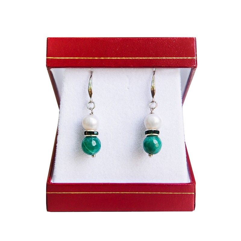 Silver earrings white pearl and green agate
