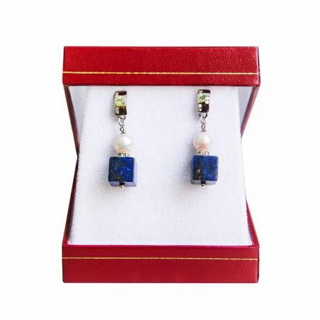 Silver earrings lapis and pearl white cube