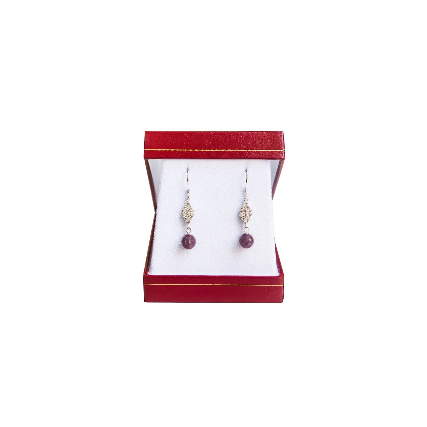 Ruby silver earrings