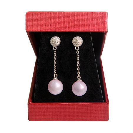 Silver earrings rose quartz My Way