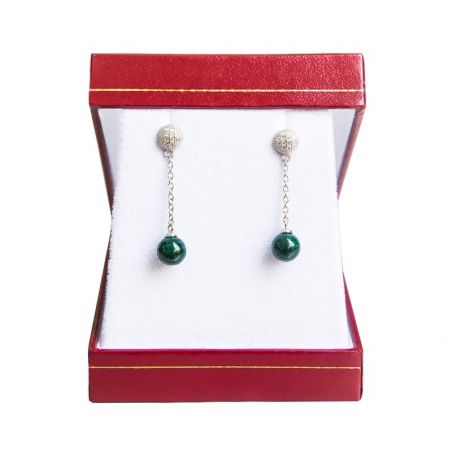 Silver earrings malachite My Way