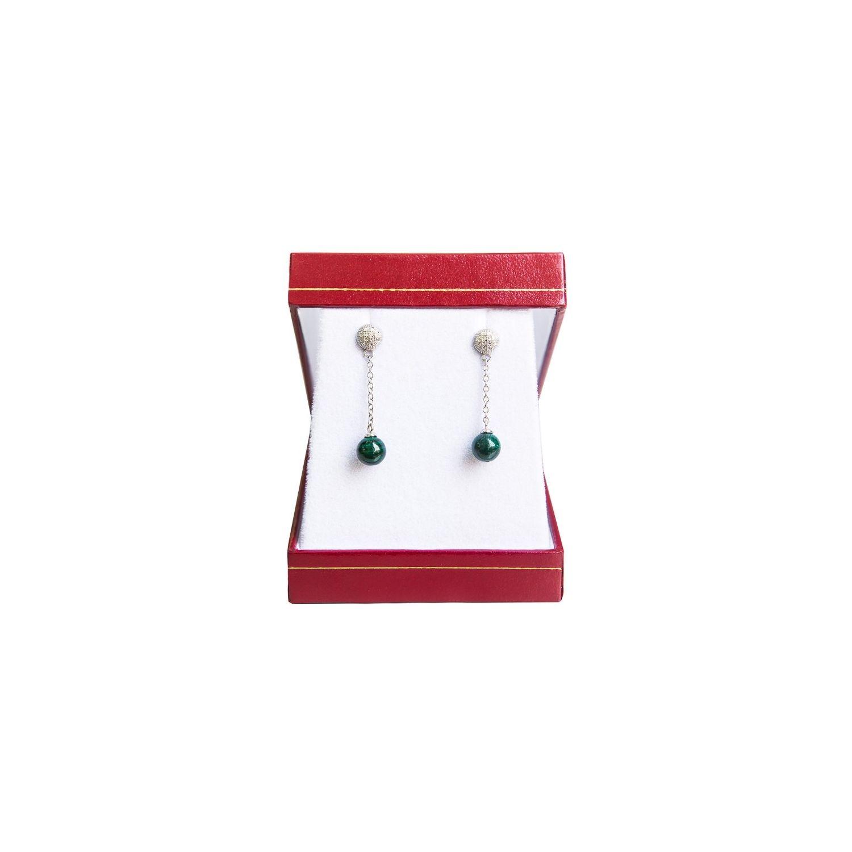 Silver earrings malachite My Way